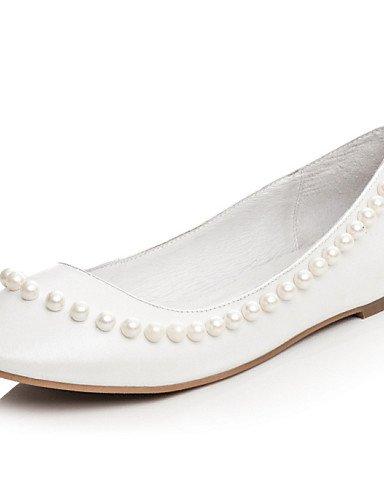 zapatos white us5 piel mujer de blanco negro boda Flats eu35 punta talón PDX vestido uk3 redonda cn34 de plano R6BqqZ5