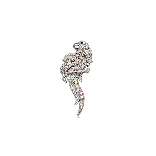 (Blue Pearls - White Crystal Parrot Brooch and Rhodium Plated - CRY 8509 T CRY 8509 T)