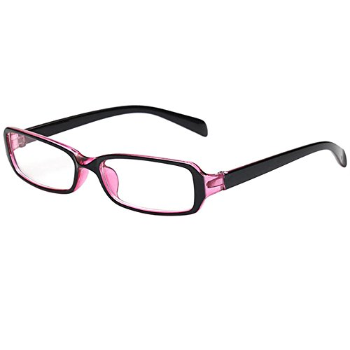 FancyG Vintage Inspired Classic Retro Style Rectangle Shape UV Protection Blue Tint Glasses Frame Clear Lens Eyewear - Black Pink