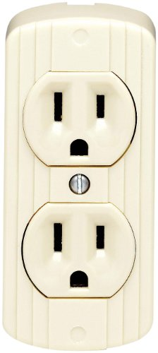 Leviton 91 15 Amp, 125 Volt, Grounding, Double Surface-Mount, 2 Round Or Flat Plugs Accepted, Ivory