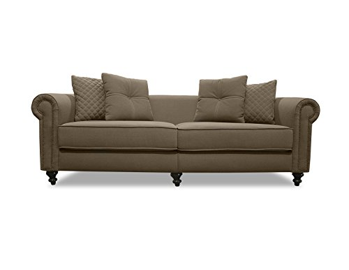 South Cone Home Nathaniel Lux Linen Sofa, 100″, Brown