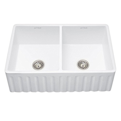 Mitrani USA OXFORD-DB-W 33 inch Dura Seda Granit-Silk Farmhouse Reversible White Kitchen Double Bowl Sink