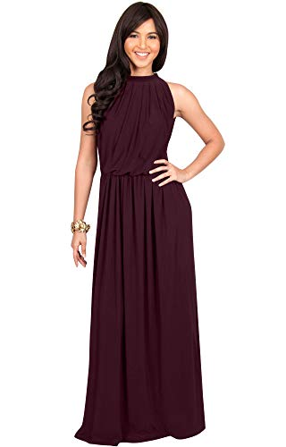 Semi Formal Themes (KOH KOH Womens Long Sexy Sleeveless Bridesmaid Halter Neck Wedding Party Guest Summer Flowy Casual Brides Formal Evening A-line Gown Gowns Maxi Dress Dresses, Maroon Wine Red L)