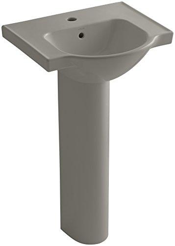 KOHLER K-5265-1-K4 Veer Pedestal Bathroom Sink with Single Faucet Hole, 21-Inch, Cashmere 1 K4 Cashmere Pedestal