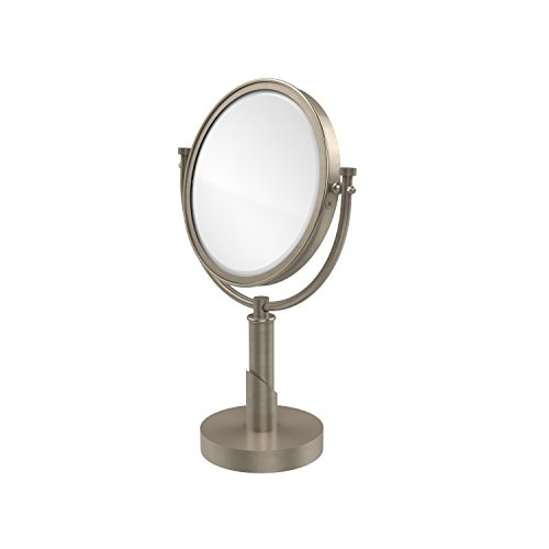 Allied Brass TR-4/2X-PEW Tribecca Collection 8 Inch Vanity Top Make-Up Mirror 2X Magnification, Antique Pewter