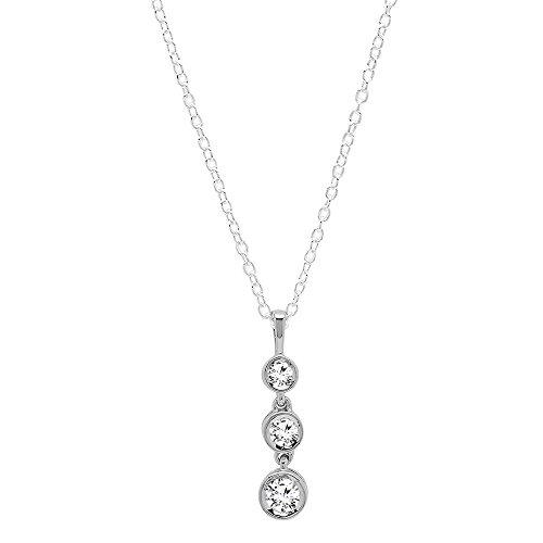 (Dazzlingrock Collection 0.37 Carat (Ctw) 14K Round White Diamond Ladies Graduating Journey of Life Pendant, White Gold)