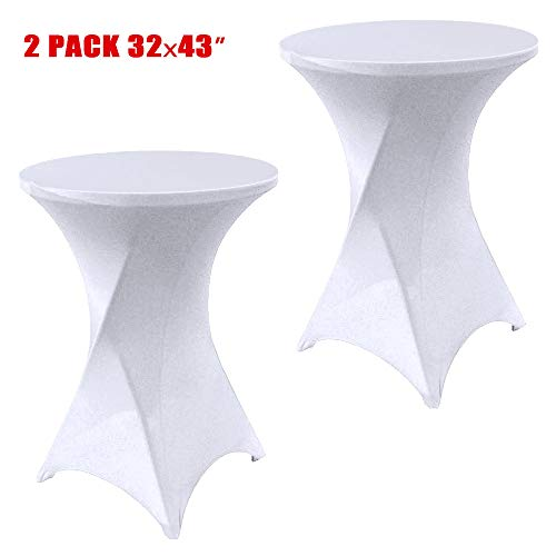 SUNTQ 2 Pack 32x43 Cocktail Spandex Stretch Square Corners Tablecloth White Weddings,Birthday,Vendors,Outdoor Party,DJ,Banquet,Tradeshows (White, 2PC 32X43inches)