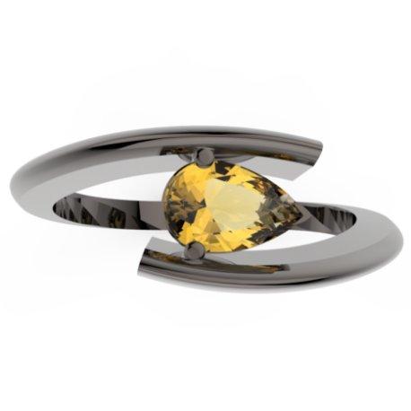 HABY POIRE Bagues Or Noir 18 carats Citrine Jaune 0,8 Poire