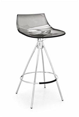 "Connubia LED Stool - 32"" - Steel Stained Chromed Frame - Styren Acrylonitrile Transparent Smoke Grey Seat"