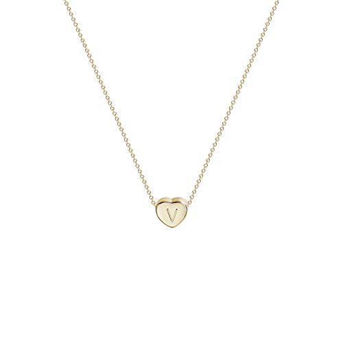 Cute Girl Young (Tiny Gold Initial Heart Necklace-14K Gold Filled Handmade Dainty Personalized Letter Heart Choker Necklace Gift for Women Kids Child Necklace Jewelry)