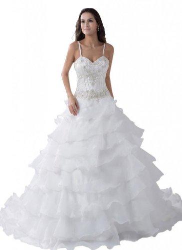 Organza Court Ivory Dearta Train Wedding Line Dresses Spaghetti A Women's Straps Aq40Bp