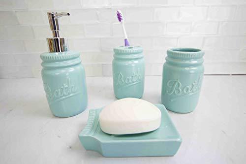 Home Basics Gift & Home Basics Beautiful Rose 4 Pcs Dolomite Mason Jar Durable Bath Accessory Set-Decorative Lotion Dispenser/Dish/Tumbler/Toothbrush Holder Perfect Gift & Decorating Idea, Mint (Bathroom Sets Accessory)