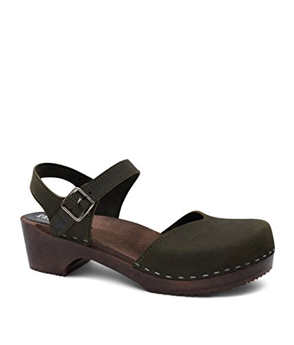 Sandgrens Swedish Wooden Low Heel Clog Sandals for Women | Saragasso Olive DK, EU 40
