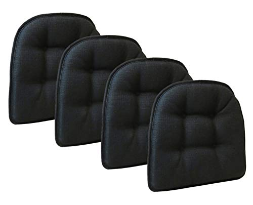 Klear Vu Omega Gripper Tufted Furniture Safe Non-Slip Dining Chair Cushion, Midnight Black, 4-Pack (Chair With Ties Cushions Kitchen)