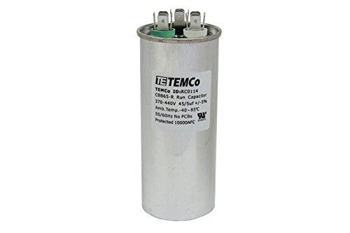 TEMCo Dual Run Capacitor RC0114-45/5 mfd 370 V 440 V VAC Volt 45+5 uf AC Electric Motor HVAC