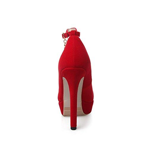 YE Damen Knöchelriemchen High Heels Spitz Plateau Stiletto Ankle Strap Pumps mit Schnalle Elegant Nubuckleder Party Schuhe Rot