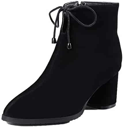 AllhqFashion Womens Solid High-Heels Closed-Toe Frosted Pull-On Boots FBUXD117973