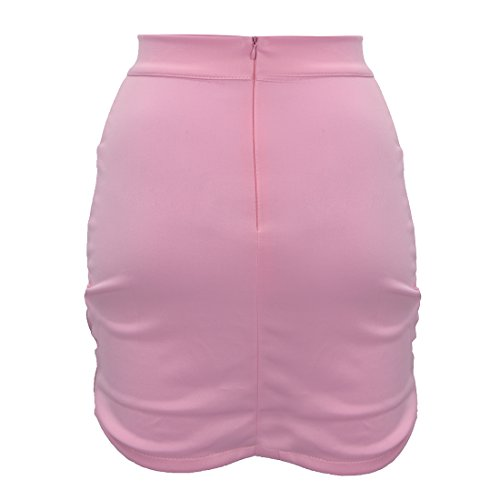 SODIAL (R)Dame elegante Casual Party a la mode pour femme Mini jupe court Stretch Bodycon Sexy Slim Rose L