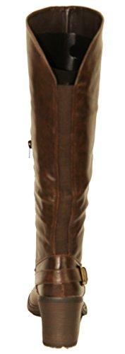 WINTER KNEE LADIES SHOES BUCKLE Brown HIGH RJ05 RIDING ZIP WOMEN ELASTICAT BIKER BOOTS qTgttX