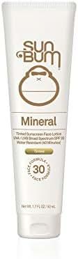 Sun Bum Mineral Sunscreen Tinted Face Lotion SPF 30 | Reef Friendly Broad Spectrum UVA/UVB Protection | Natural Zinc Sun Block|  Hypoallergenic, Paraben Free, Gluten Free, Vegan | 1.7 OZ Bottle