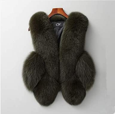 MH Bailment Women fox Fur Vest Coat Winter Fashion Artifical fox Vest Coat Short paragraph Fur Vest Waistcoat