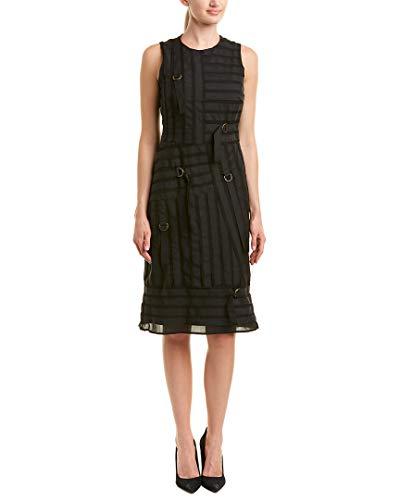 Nicole Miller Women's Grossgrain on Silk Sleeveless Dress, Black 12 ()