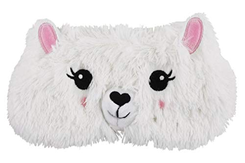 iscream Fun and Colorful Satin-Lined Embroidered Fur Glama Llama Sleep Mask for Girls