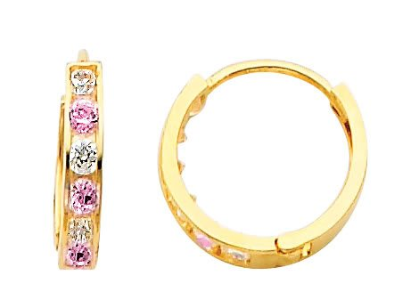 (14k Yellow Gold 2mm 6 Stone Multi-Color Pink CZ Channel Set Polished Hoop Huggies Earrings (0.4