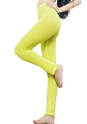 (BGBISNLZ Womens Semi See-Through Sheer Ice Silk Open Zip Crotch Leggings Pants (Yellow))