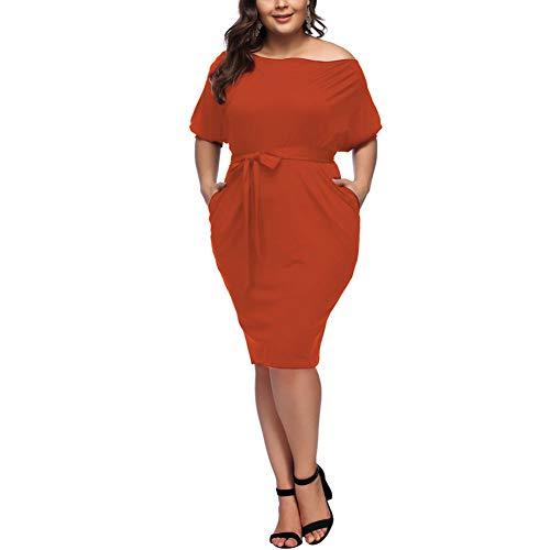 HOOYON Plus Size Dress Women's Off Shoulder Long Sleeve Shiny Bodycon Mini Dress (XL, Orange)