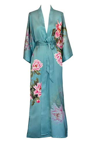Old Shanghai Women's Kimono Robe Long - Watercolor Floral, peony & bird - cameo blue, One - Chinese Gown Silk Dressing