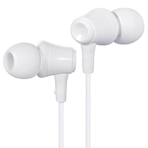 Redlink Wired Headphones Earphones, In-Ear Earbuds, Noise Cancelling, Stereo Sound with Built-in Mic for iPhone, iPad, Samsung, Android smartphones, Tablets, 3.5mm Headphone Jack (Upgraded White)