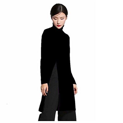 2017 new design Women's Cashmere Sweater,side open hem long cashmere dress for women (XL, Black)