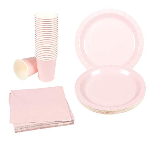 Disposable Dinnerware Set - 24-Set Paper Tableware - Dinner Party Supplies for 24 Guests, Including Paper Plates, Napkins and Cups, Pink ()