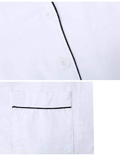 Notte Due Maniche Da Pezzi In Donna Lunghe Cotone Set Pigiama bianco Lungo Abollria C Camicia Con pXOfUgqn