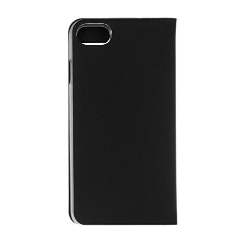 Mobile protection Para el iPhone 7 textura de textura lisa horizontal Flip caja de cuero con ID de pantalla de llamada ( Color : Pink ) Black