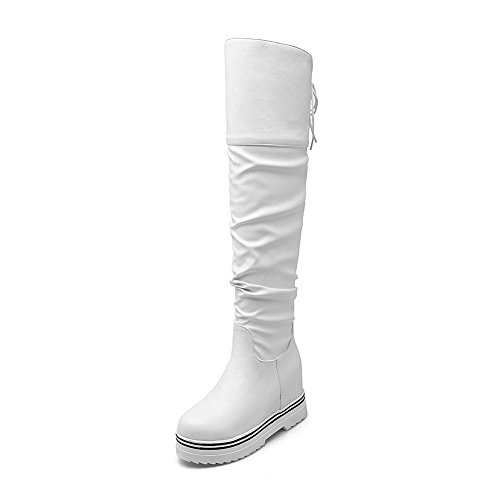 BalaMasa Womens Lace-Up Platform Heighten Inside Round Toe Imitated Leather Boots White