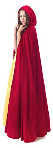 Little Adventures Deluxe Velvet Adult Cloak Cape with Lined Hood (Red),One Size
