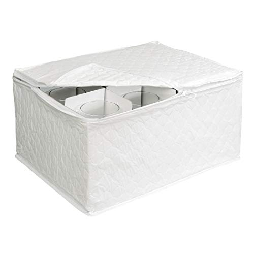 Stemware Storage Chest for Up to 12 Glasses, White - Wine Storage Container