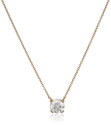 Rose Gold Plated Sterling Silver Solitaire Pendant Necklace set with Round Cut Swarovski Zirconia (2 cttw), 18