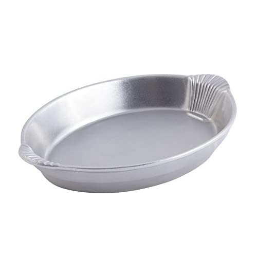 "Bon Chef 2078 Aluminum Shell Design Oval Casserole, 4 quart Capacity, 17"" Length x 12"" Width x 2-1/2"" Height, Pewter Glo"