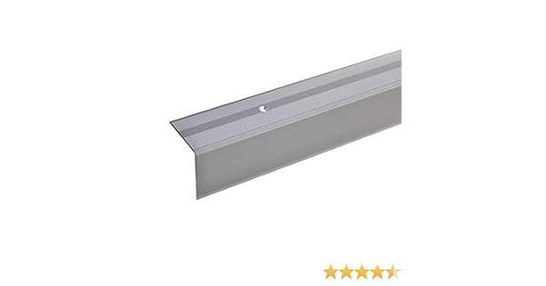 acerto 33713 Perfil angular de escalera de aluminio Robusto 100cm 28x50mm plateado Antideslizante F/ácil instalaci/ón Perfil de borde de escalera perfil de pelda/ño de escalera