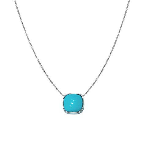 TousiAttar Simple Turquoise Necklace Cushion Cut - Solid 14k or 18k White Native American Stone for Gift - December Birthstone