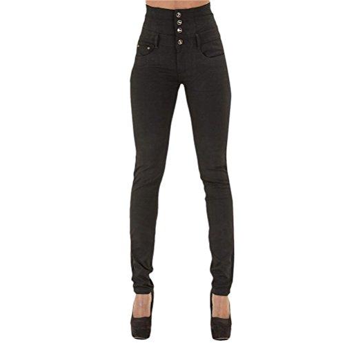 Pantaloni Moda Nero Casual Azzurro Dritti Jeans Vita Jeggings Denim Scuro Black Elasticizzati Blue Zhuhaitf Alta U5wRqUx