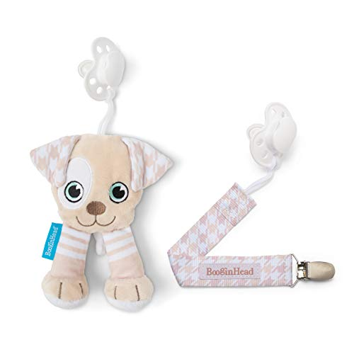 orn, PaciPal and PaciGrip Pacifier Clip, Holder, Toy, Teether, Soothie, Universal Loop, Plush, Lovey, Puppy, Brown, Cream, Neutral, 2 Piece Set ()