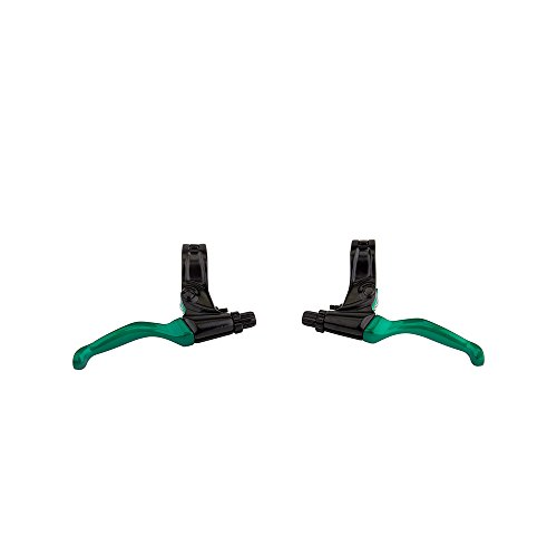 Evoke BMX Brake Lever Pair BLACK / GREEN 22.2mm Clamp
