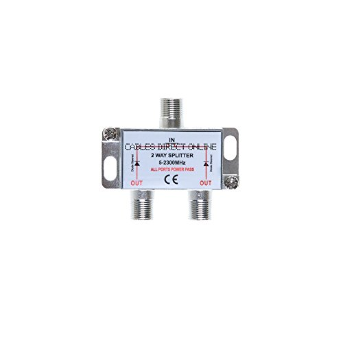 2 Way 5-2300 MHz Coaxial Antenna Splitter for RG6 RG59 Coax Cable Satellite HDTV (2 Ports) ()