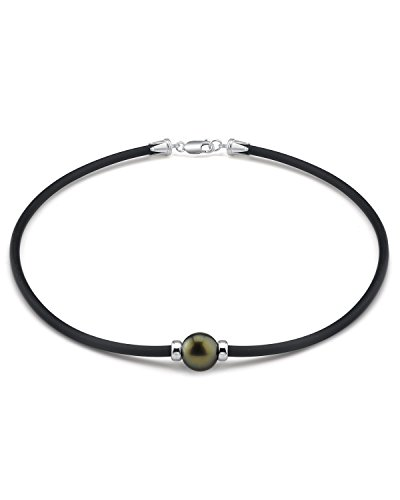 THE PEARL SOURCE Sterling Silver 11-12mm Round Genuine Black Tahitian South Sea Cultured Pearl Necklace in 16