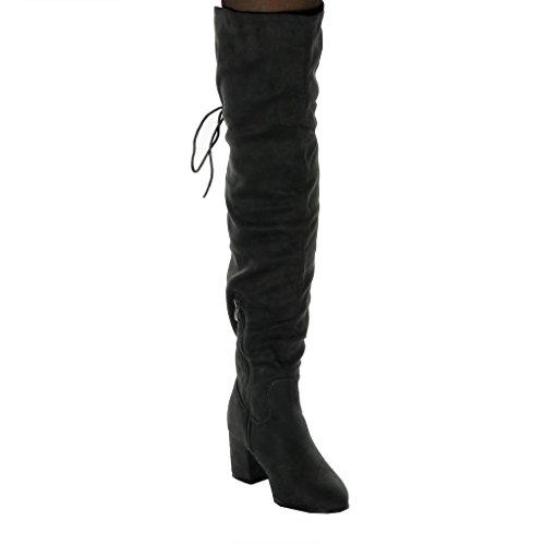 Couverte Noeud 6 Gris Chaussure Botte Femme Fourrée Cuissarde Mode Cm Intérieur Lacets Angkorly Souple Talon Bloc Haut Cavalier qYTFzxpW