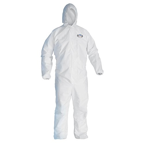 Kleenguard A20 Breathable Particle Protection Hooded Coveralls (49114), REFLEX Design, Zip Front, Elastic Wrists & Ankles, White, XL, 24 / Case